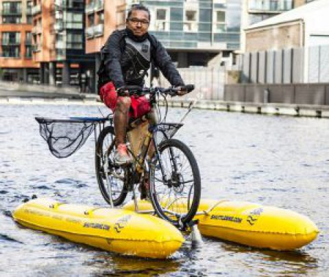 Collecting Plastic on a Floating Bike